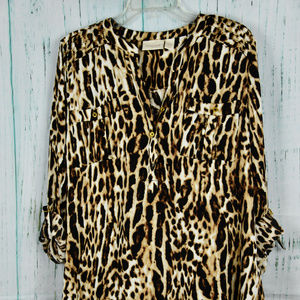 CHICO'S Brown Animal Print 3/4 Sleeve Top Sz 2
